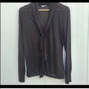 Halogen sz L brown sheer button down blouse